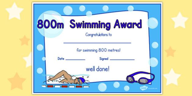 800m Swimming Certificate - swimming, certificate, 800m, awards