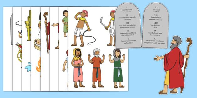 Moses Story Cut Outs - Moses, Egypt, Hebrews, slaves, Pharaoh, basket, God, palace, shepherd, cut outs, cutting, cut, burning bush, plague, Primised Land, law, stone, ten commandments, bible, bible story
