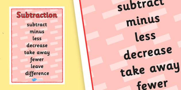 Subtraction Vocabulary Poster - subtraction, subtraction vocabulary, subtraction poster, subtraction vocabulary display poster, minus, ks2 numeracy