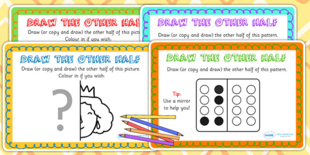 Draw the Other Half Symmetry Maths Challenge Cards - symmerty, half, maths