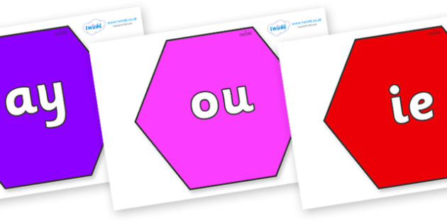 Phase 5 Phonemes on Hexagons - Phonemes, phoneme, Phase 5, Phase five, Foundation, Literacy, Letters and Sounds, DfES, display