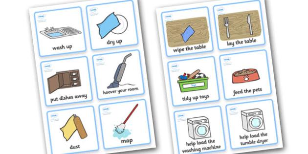 SEN Communication Cards Household Chores (Boy) - communication cards, chores, education, home school, child development, children activities, free