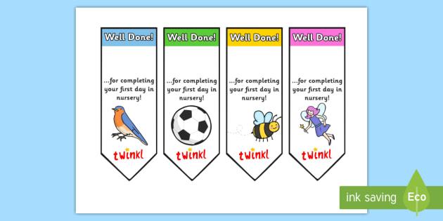 Editable First Day Bookmarks Nursery - bookmark, reward, award, first day, school
