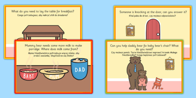 Challenge Cards Goldilocks Role Play Polish Translation - polish, goldilocks, role play, challenge