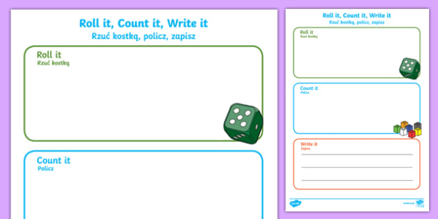 Roll it count it write it number activity sheet English/Polish