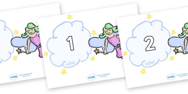 Numbers 0-50 on Fairies - 0-50, foundation stage numeracy, Number recognition, Number flashcards, counting, number frieze, Display numbers, number posters