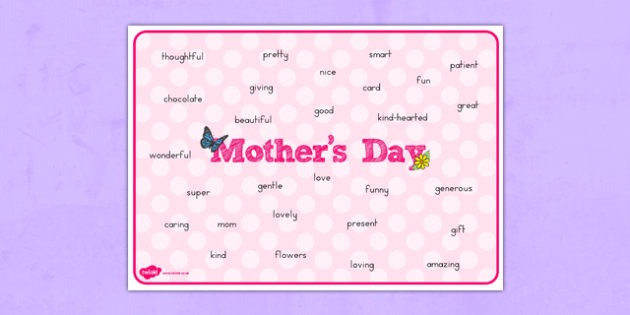 Mother's Day Word Mat - usa, america, mothers day, word, mat, mothers, day