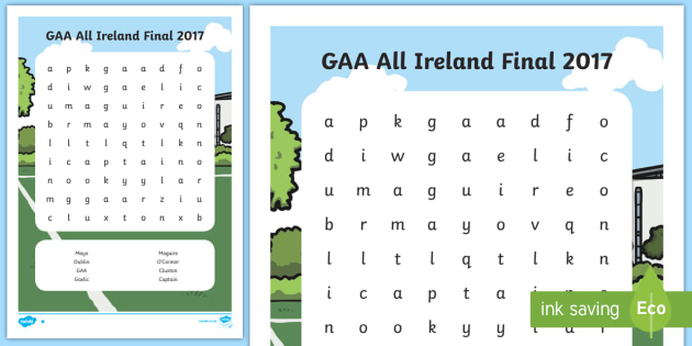 All Ireland GAA Football Final Word Search