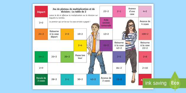 Jeu de plateau multiplications et divisions la table de 2 for Les multiplications