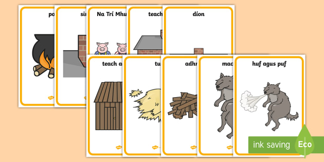 The Three Little Pigs Display Posters Gaeilge - Na Trí Mhuc Irish Gaeilge Display Posters,Irish, three little pigs, 3 little pigs,
