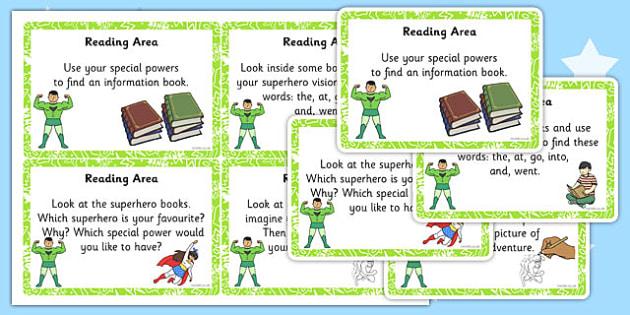 EYFS Superhero Themed Reading Area Challenge Cards - eyfs, cards