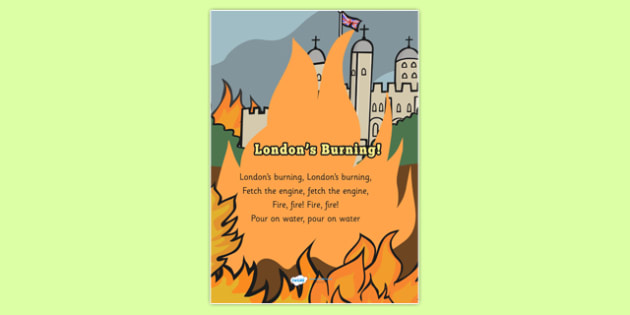 Londons Burning Song - londons burning, nursery rhyme, display poster, nursery rhyme poster, londons burning poster