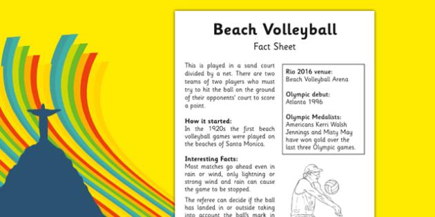 Rio 2016 Olympics Beach Volleyball Fact Sheet - rio 2016, riol olympics, 2016 olympics, beach volleyball, fact sheet