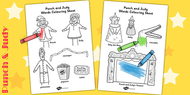 Punch and Judy Words Colouring Sheet - colouring, sheet, punch
