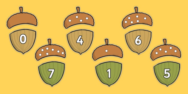 Acorn Counting Game - maths, numeracy, plants, seeds, fun, numbers, trees, nature, early years, ks1,