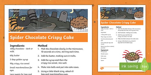 Halloween Spider Chocolate Crispy Cake Recipe
