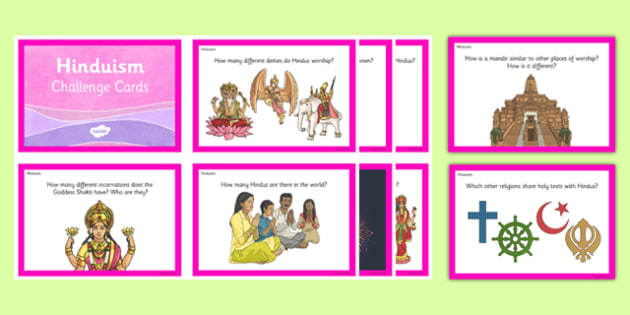 Hinduism Challenge Cards - hindu, hinduism, challenge cards, questions, religion, ks2, key stage 2, re