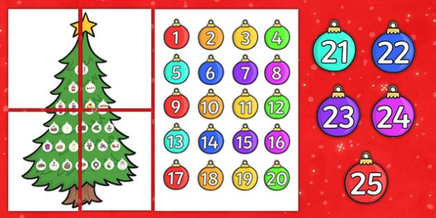 Christmas Tree Themed Advent Calendar Large - christmas, advent