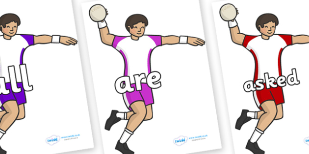 Tricky Words on Handball Players - Tricky words, DfES Letters and Sounds, Letters and sounds, display, words