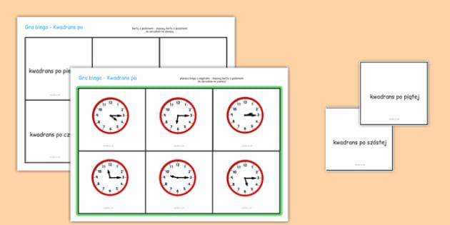 Gra Bingo Kwadrans po po polsku - zegar, czas, godzina