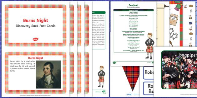 Burns Night Discovery Sack - EYFS, Early Years, KS1, Key Stage 1, Scotland, Robert Burns, Burns Supper, haggis, Auld Lang Syne, January, festival, celebration