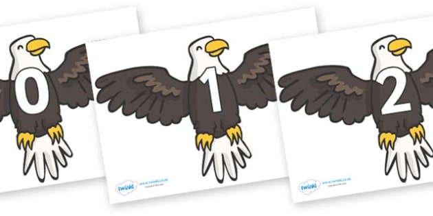 Numbers 0-31 on Eagles - 0-31, foundation stage numeracy, Number recognition, Number flashcards, counting, number frieze, Display numbers, number posters