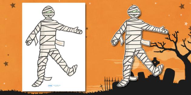 Editable Halloween Mummy (A4) - Editable Halloween Mummy, A4, mummy, display, poster, Halloween, pumpkin, witch, bat, scary, black cat, mummy, grave stone, cauldron, broomstick, haunted house, potion, Hallowe'en