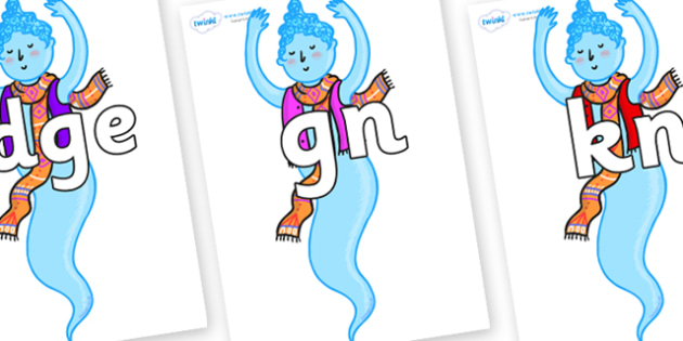 Silent Letters on Genie of the Ring - Silent Letters, silent letter, letter blend, consonant, consonants, digraph, trigraph, A-Z letters, literacy, alphabet, letters, alternative sounds
