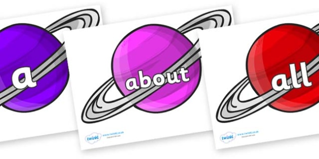 100 High Frequency Words on Planets - High frequency words, hfw, DfES Letters and Sounds, Letters and Sounds, display words