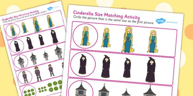 Rapunzel Size Matching Worksheets - rapunzel, size, match, sheet