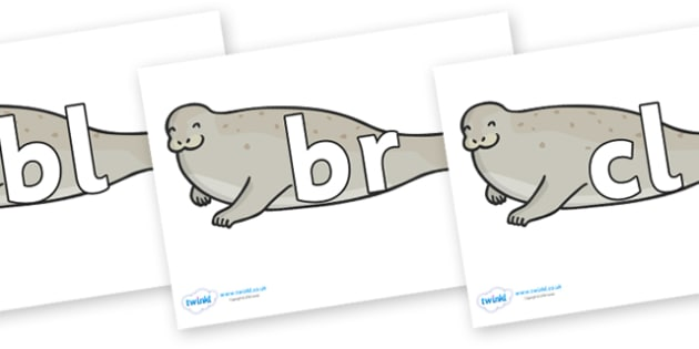 Initial Letter Blends on Seals - Initial Letters, initial letter, letter blend, letter blends, consonant, consonants, digraph, trigraph, literacy, alphabet, letters, foundation stage literacy