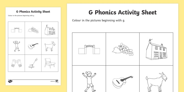 g Phonics Colouring Activity Sheet - Republic of Ireland, Phonics Resources, phonics assessment, sounding out, initial sounds, colouring,