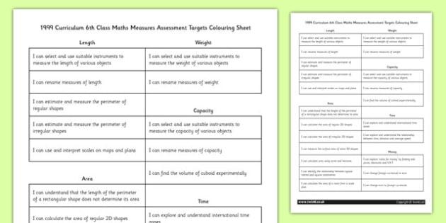 Curriculum 6th Class Maths Measures Assessment Targets Colouring Sheet - roi, gaeilge, ireland, republic of ireland