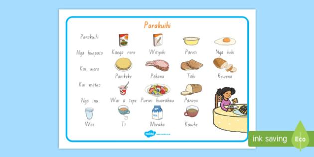 Ngā kai Parakuihi - Breakfast Foods Word Mat