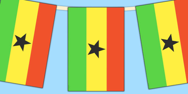 Ghana Flag Display Bunting - countries, geography, flags, ghana