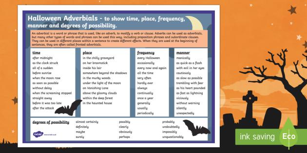 Halloween Adverbials Word Mat
