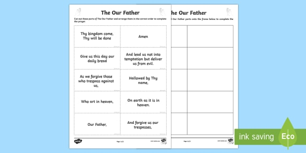 The Our Father Sequencing Activity Sheet-Scottish - CfE Catholic Christianity, prayers, mass responses, The Our Father,Scottish