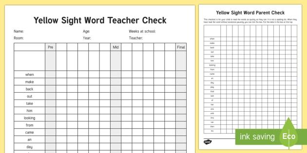 Yellow Reading Sight Words Checklist - Literacy, Reading, Yellow Sight Words, Colour Wheel, english, new zealand, nz, tracking, progress, r