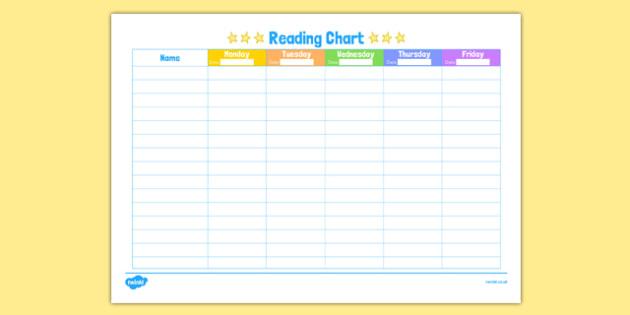 Week Reading Chart - week, reading, chart, read, reaching chart, read chart