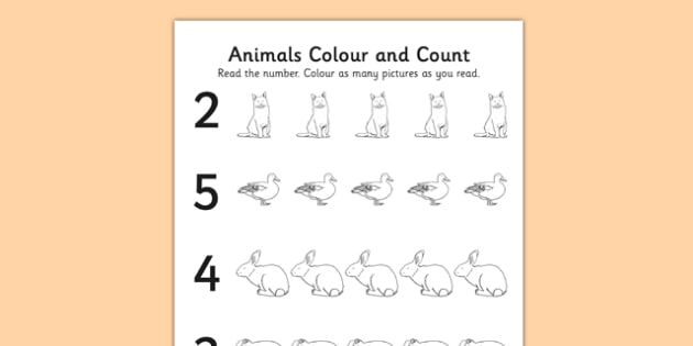 Animals Themed Count and Colour Sheet - colour, count, animals
