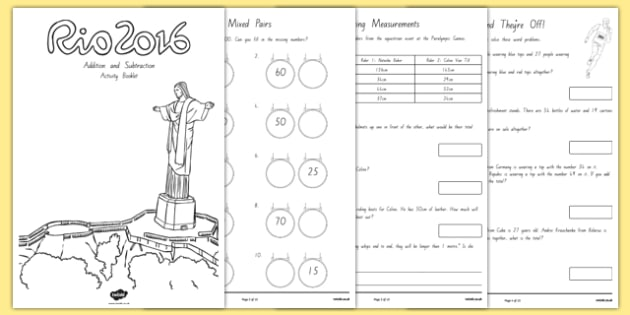 Year 2 Rio Olympics Addition and Subtraction Activity Booklet - 2016 Rio Olympics, maths, KS1, Year 2, challenges, problem, solve, reason, predict, word problem, add, addition, plus, total, altogether, sum of, greater than, more than, subtract, subtr