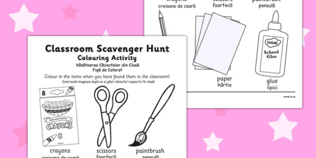 Classroom Scavenger Hunt Colouring Activity Romanian Translation