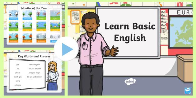 Basic English PowerPoint - EAL, new starter, basic phases, english greetings