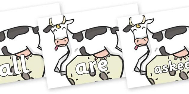 Tricky Words on Cow and Moon - Tricky words, DfES Letters and Sounds, Letters and sounds, display, words