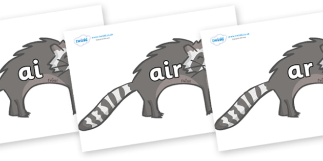 Phase 3 Phonemes on Raccoons - Phonemes, phoneme, Phase 3, Phase three, Foundation, Literacy, Letters and Sounds, DfES, display