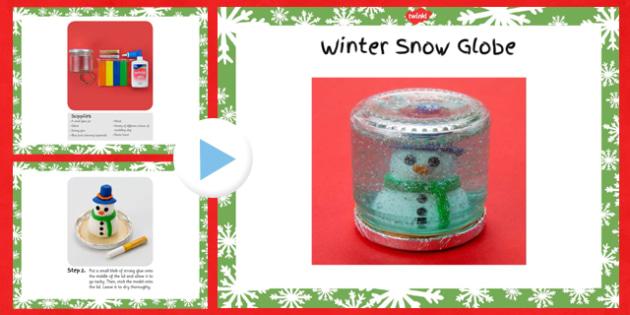 Winter Snow Globe Craft Instructions PowerPoint - winter, snow globe, craft, instructions, powerpoint