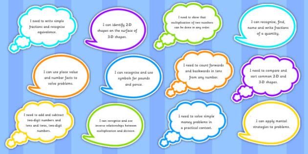 Year 2 Maths Assessment Targets on Speech Bubbles - maths, target
