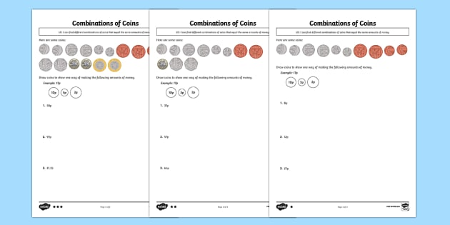 Combinations of Coins Activity Sheet - Maths, money, Y2, Year 2, coins, combinations, amounts, worksheet
