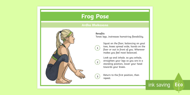 Yoga Frog Pose Step-by-Step Instructions - Yoga, health, stress, calm, peace, KS1, KS2, well being, anxiety, work life balance, WLB
