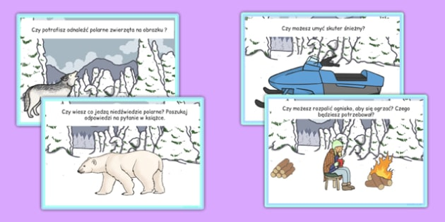 Karty ze słownictwem Polarnik po polsku - biegun, zima, polarny